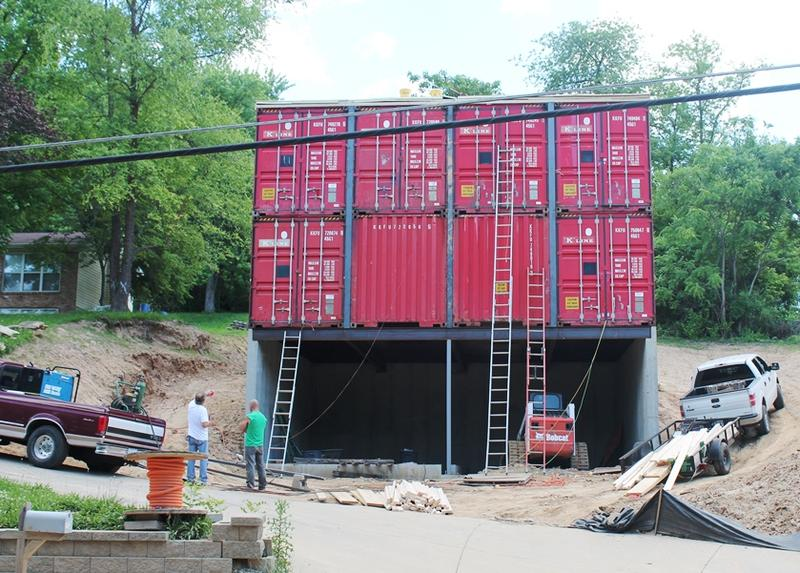 Zack and Brie Smithey's railroad-shipping container home on Elm Street in St. Charles will be painted taupe and include glass windows across the front.