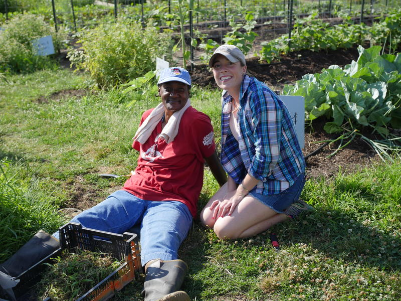 City Seeds director Syndey Boyle with former St. Patrick Center client Deborah at the farm in June.