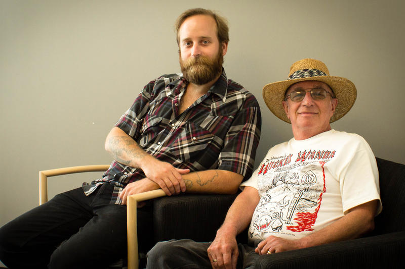 Jack Grelle (left) poses with Patrick Haggerty, who wrote and performed Lavender Country