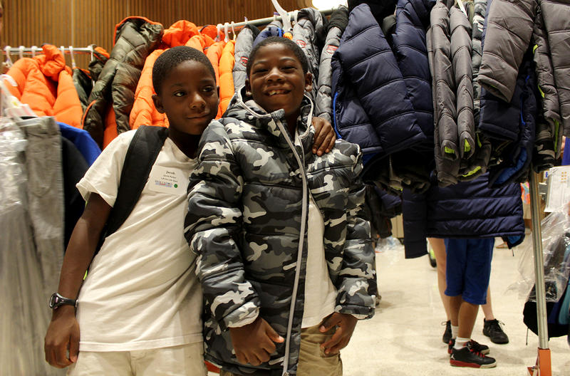 Jacob and Jahede Parker picked out almost identical gray camo coats at the Back-to-School Store. Jacob's had a bright yellow lining, while Jahede's lining was white.