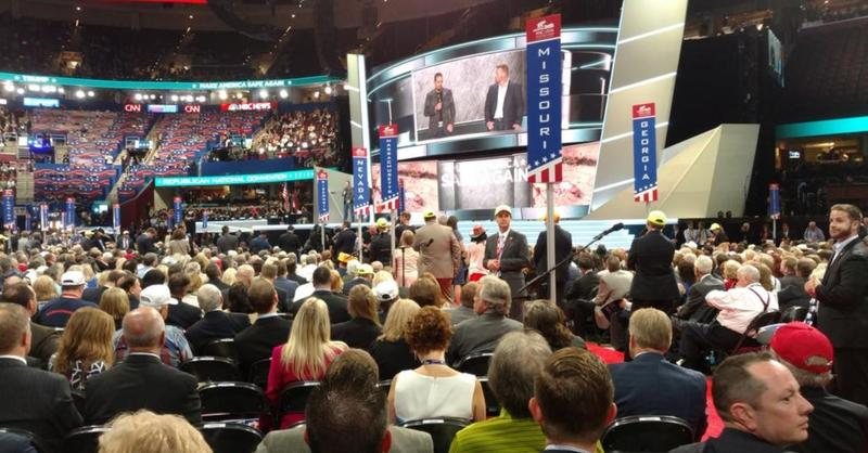 The Missouri delegation may be housed in Akron, but it has a clear view of the stage.