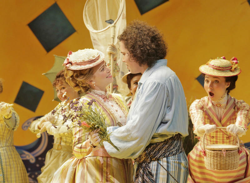 Deanna Breiwick as Mabel, Matthew Plenk as Frederic, and members of the chorus in Opera Theatre of Saint Louis' 2013 production of The Pirates of Penzance.
