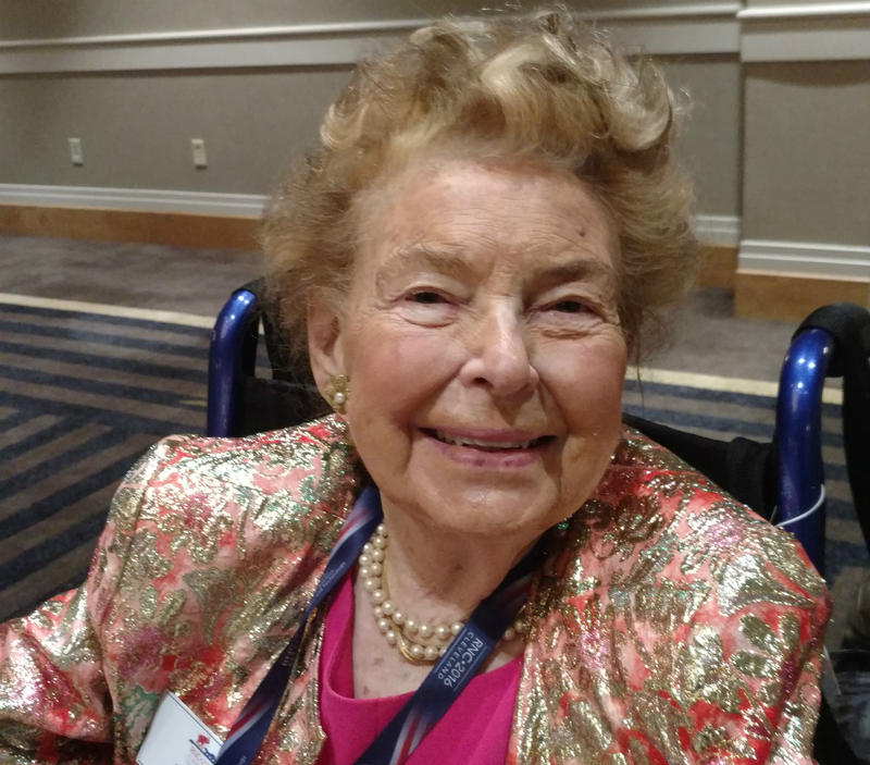 "Longtime Republican stalwart Phyllis Scholarly said Donald Trump is ""a choice not an echo,"" which references her long-ago support of Barry Goldwater."