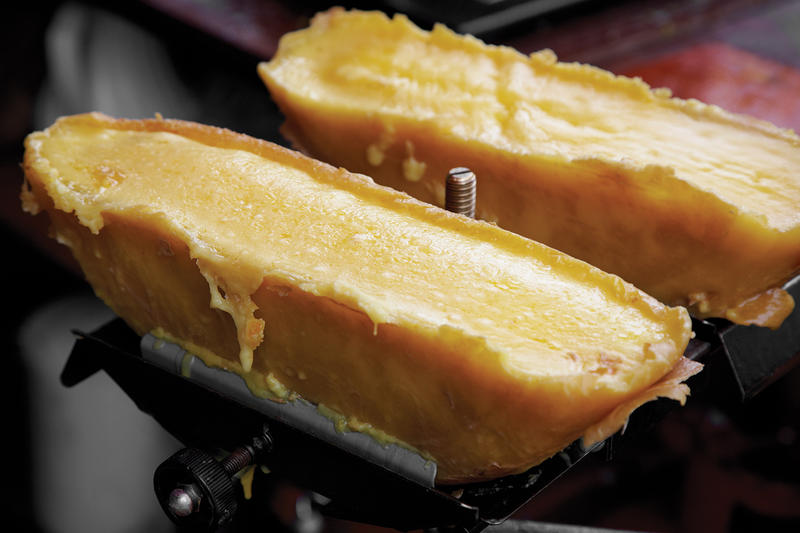 Raclette is a funky, nutty Swiss-French cow's milk cheese.
