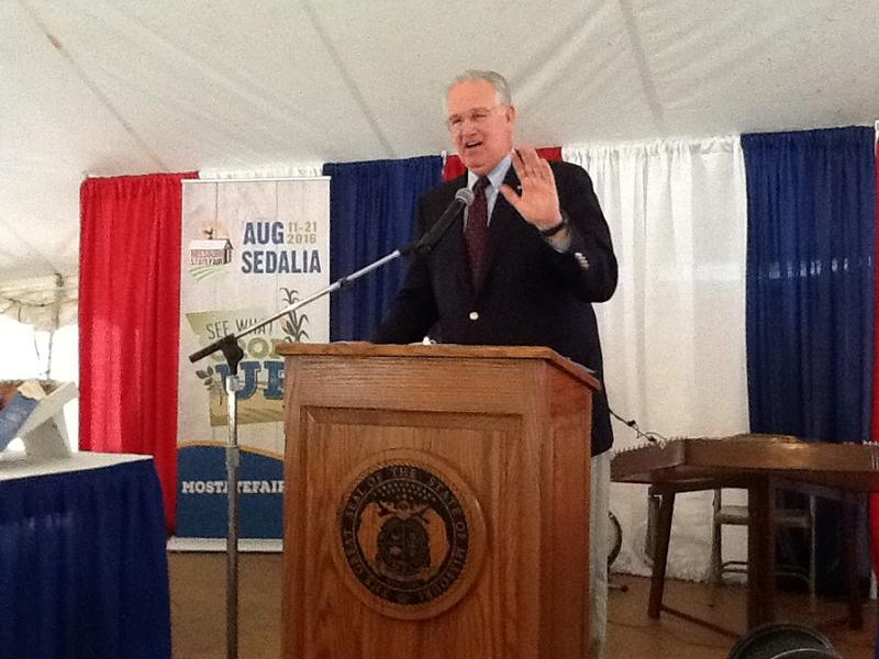 Gov. Jay Nixon addresses the crowd at the annual Ham Breakfast at the Missouri State Fair on Aug. 18.