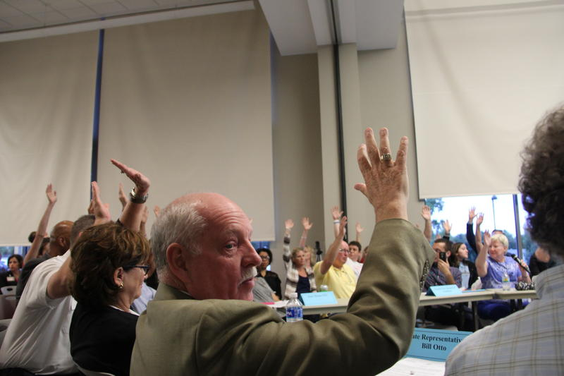 At an EPA-hosted community meeting about the West Lake Landfill Superfund site in mid-2016, Bridgeton Councilwoman Linda Eaker asks for a show of hands regarding support for full excavation of radioactive waste.