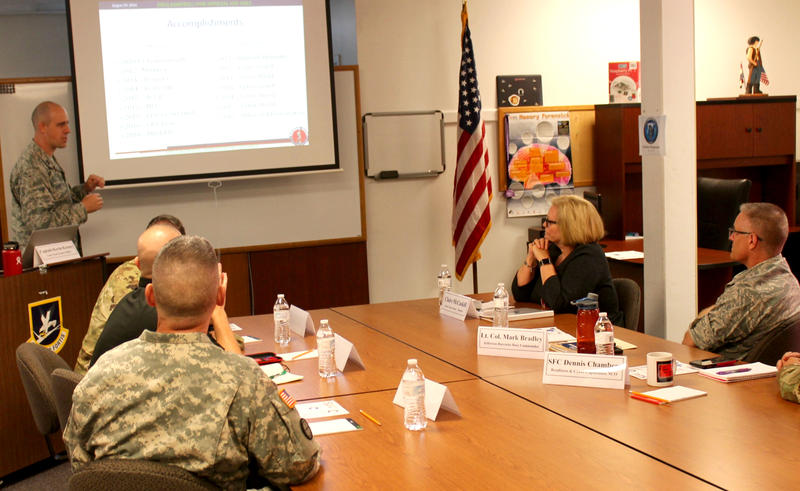 U.S. Sen. Claire McCaskill listens to a presentation on Aug. 29, 2016, at Jefferson Barracks from members of a Missouri National Guard cyber unit.