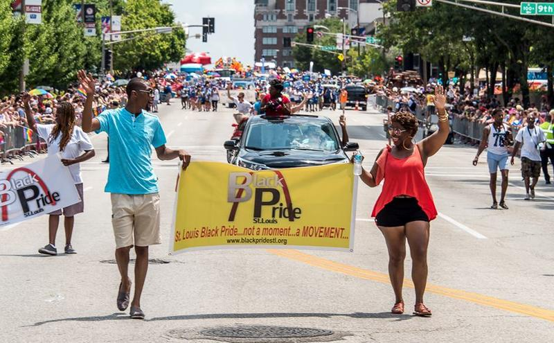 Members of Black Pride march in the Pride St. Louis parade in June.
