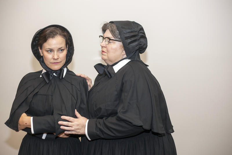 "Elise Quagliata and Christine Brewer in Union Avenue Opera's production of ""Doubt."""