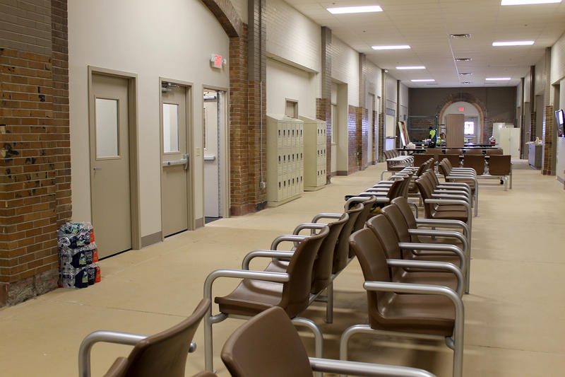 In addition to seating in the central hall of Biddle, the homeless center has classroom and office space on either side.