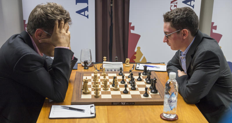 Levon Aronian, left, defending Sinquefield Cup Champion and Fabiano Caruana, defending 2016 U.S. Champion play in last year's Sinquefield Cup.