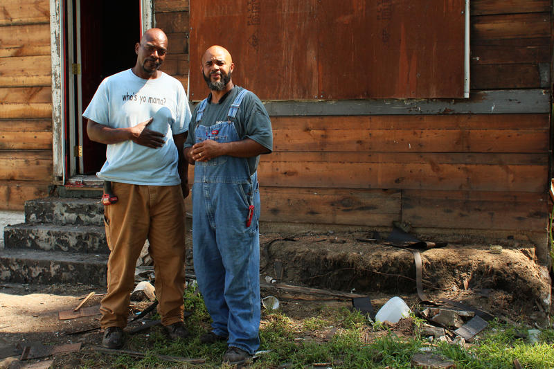 Miercole Bell and Torrence Rogers and Torrence Rogers of Mickey's General Contracting currently oversee the rehabilitation of Miles Davis' family home in East St. Louis.
