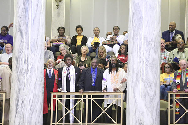 Protesters disrupt the Missouri Senate on May 6, 2016.