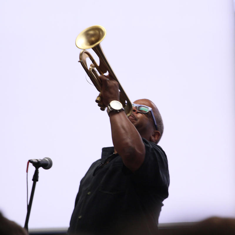 Terence Blanchard performs for students at UMSL during a Jazz St. Louis educational event. In a similar effort, the organization is working with Jazz at Lincoln Center to bring jazz to St. Louis area high schools.