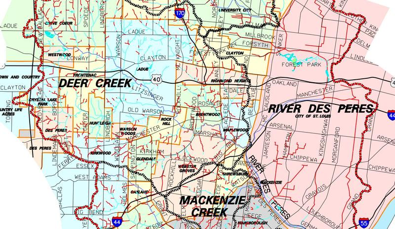 Map of major watersheds in the St. Louis area.