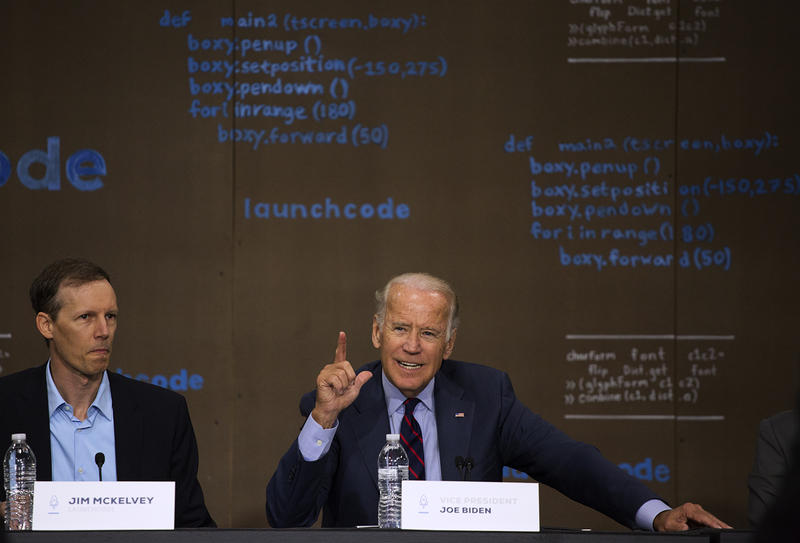 Vice President Joe Biden speaks at LaunchCode alongside Jim McKelvey, founder of Square and co-founder of LaunchCode, on Friday morning.
