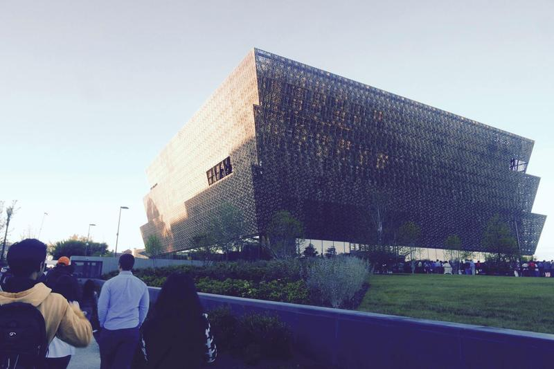 The view of the National Museum of African American History and Culture as the artists prepared to enter Sunday morning.