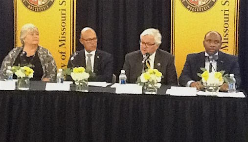 L-r: UM System Board of Curators chair Pam Hendrickson, UM System interim president Mike Middleton, Mizzou interim chancellor Hank Foley, and chief diversity officer Kevin McDonald.