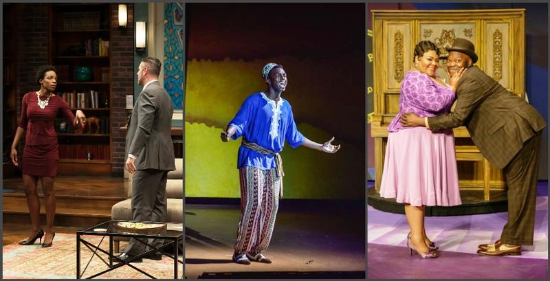 "Collage of photos from ""Disgraced,"" ""Aida"" and ""Smokey Joe's Cafe"""