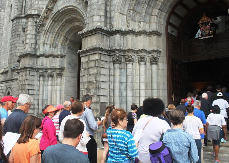 The Crossing the Delmar Divide event was part of the Archdiocese of St. Louis' Year of Mercy, so participants completed the pilgrimage by passing through the Cathedral Basilica's Holy Doors.