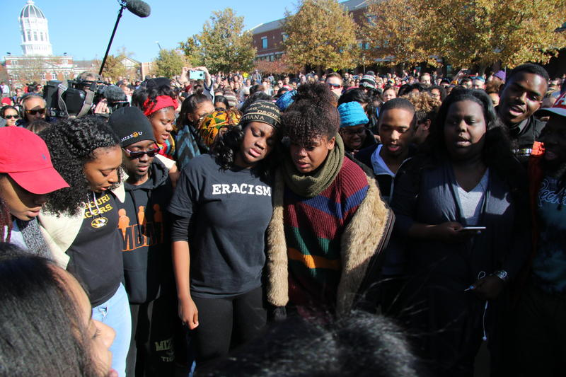 University of Missouri students protest a series of racist incidents on the Columbia campus in this photo from Nov. 9, 2015.