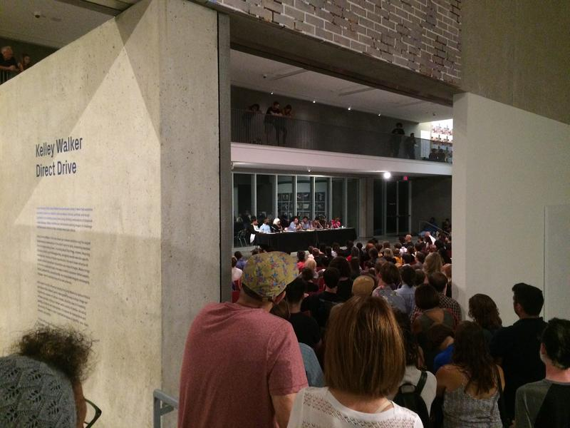 A crowd packed the Contemporary Art Museum for a panel discussion on artist Kelley Walker's use of black bodies.