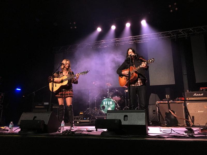 Local guitar duo Fine to Drive play onstage at a preview show at Delmar Hall the night before its grand opening.