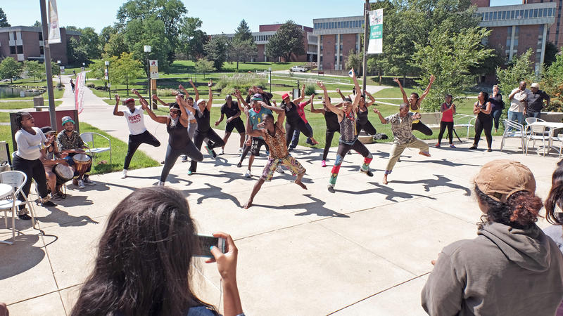 'Miriam Makeba: Mama Africa the Musical' dancers and singers held a pop up performance at UMSL's Millennium Student Center Monday.