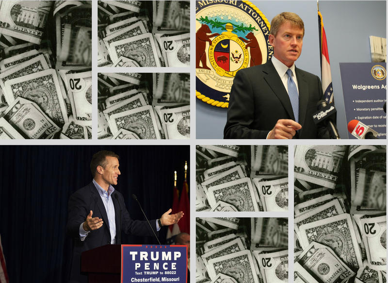 Eric Greitens, left, and Chris Koster with images of money