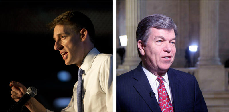 Jason Kander, left, and Roy Blunt