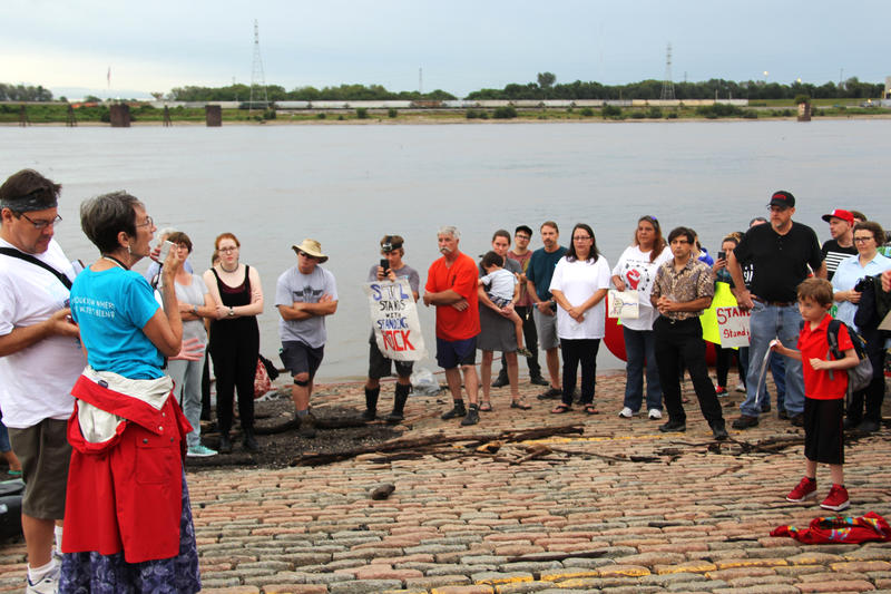 St. Louis residents, activists and city officials gathered on Sept. 8, 2016, at the Gateway Arch riverfront to express opposition to the Dakota Access Pipeline.