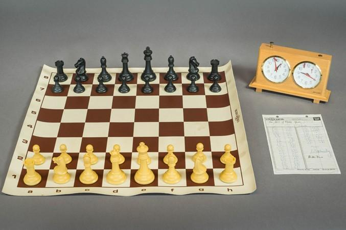 A chess set used in a game between GM Reuben Fine and GM Samuel Reshevsky