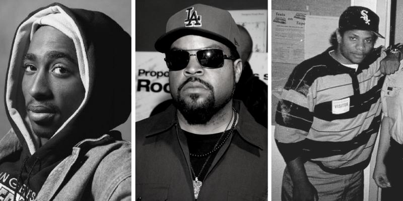 2Pac (Tupac Shakur), Ice Cube (O'Shea Jackson Sr.) and Eazy-E (Eric Lynn Wright).