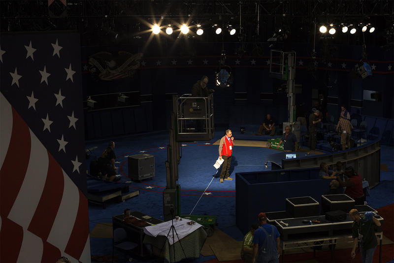 Workers construct the stage on Friday for the second presidential debate between Donald Trump and Hillary Clinton.
