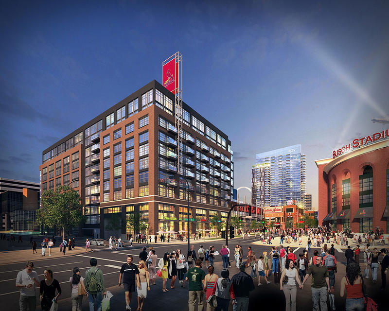 The proposed office building would be on the west end of Ballpark Village, across the street from Busch Stadium.