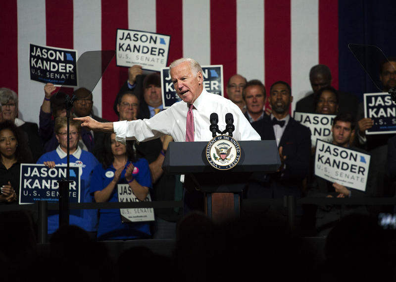 Vice President Joe Biden speaks to a crowd of supporters at a rally for Missouri U.S. Senate candidate Jason Kander at The Pageant.