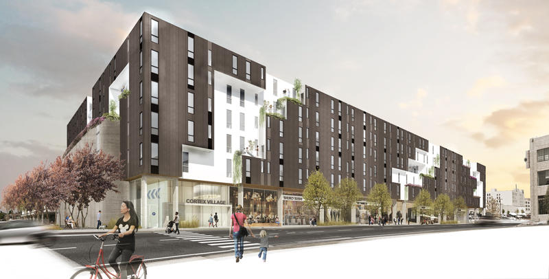 A rendering of the new residential apartment development which will feature more than 200 studio, one and two bedroom units.