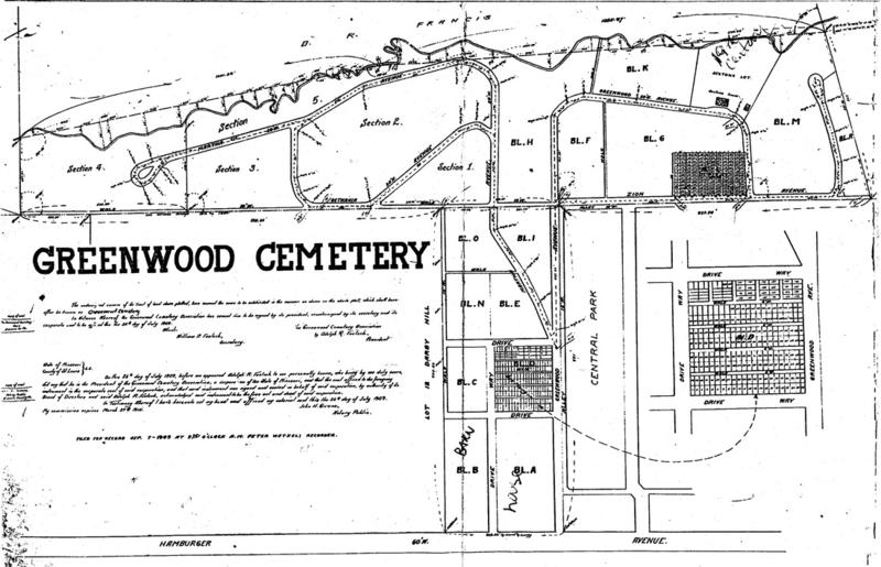 A map of Greenwood Cemetery's 31.85 acres. While it is not the largest or the oldest African-American cemetery in the St. Louis area, it was the region's first commercial non-sectarian cemetery for black people.