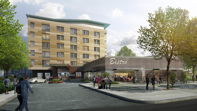 A rendering of what will be the district's first hotel, an Aloft boutique hotel by Starwood.