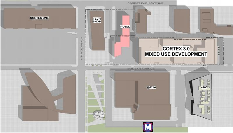A map showing current Cortex buildings and the future Cortex 3.0 development.