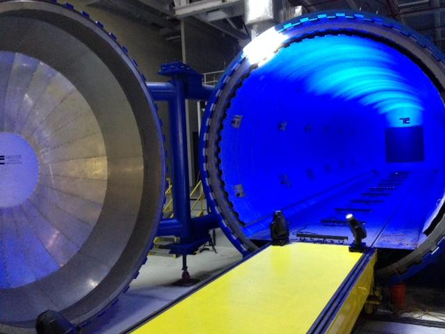 A look inside the largest autoclave in Missouri. The 60-feet-long, 250,000 pound autoclave was delivered in May.