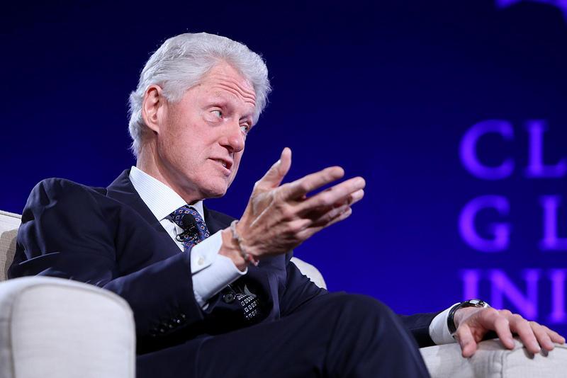 Former President Bill Clinton gestures as he explains a point to hundreds of students at this year's Clinton Global Initiative on the campus of Washington University.