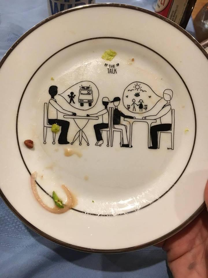 An example of how the plates at a Dusfunctionware dinner might look at the end of the meal. October, 21, 2016.