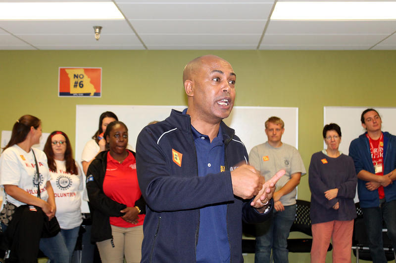 AFL-CIP Vice President Tefere Gebre speaks before a canvas against Missouri's photo voter ID amendment on Oct. 15, 2016.