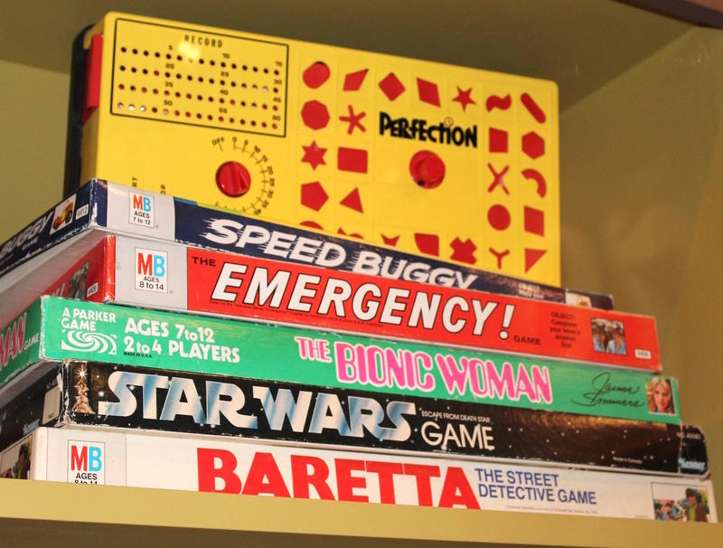 Board games inspired by popular TV shows at toy exhibit at Missouri History Museum opening on Oct. 29, 2016.