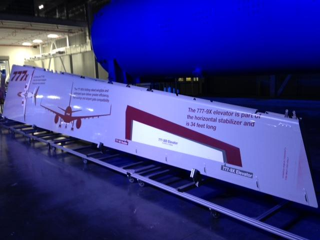 A 777X composite wing. The first composite parts form the St. Louis facility will be shipped in May. The first 777X commercial jets will be delivered in 2020.