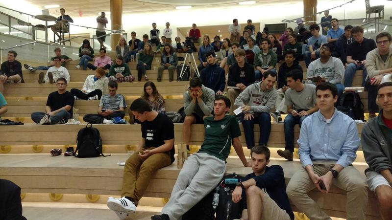 A portion of the audience at a 2016 Washington University student debate. They also are among the millennial voters that candidates seek to attract.