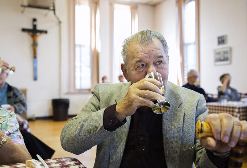 St. Louis resident Imre Jokuti, who fought in the Hungarian resistance, drinks a toast to those lost during the 1956 failed revolution against the Soviet Union during a commemoration Friday, Nov. 4, 2016.