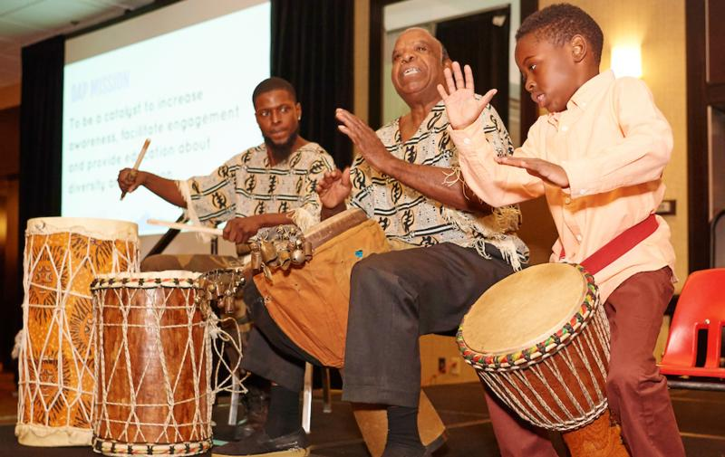 Drummers from the Sunshine Cultural Arts Center perform at the Diversity Awareness Partnership's annual fundraising dinner, held November 9, 2016, the day after the 2016 election.