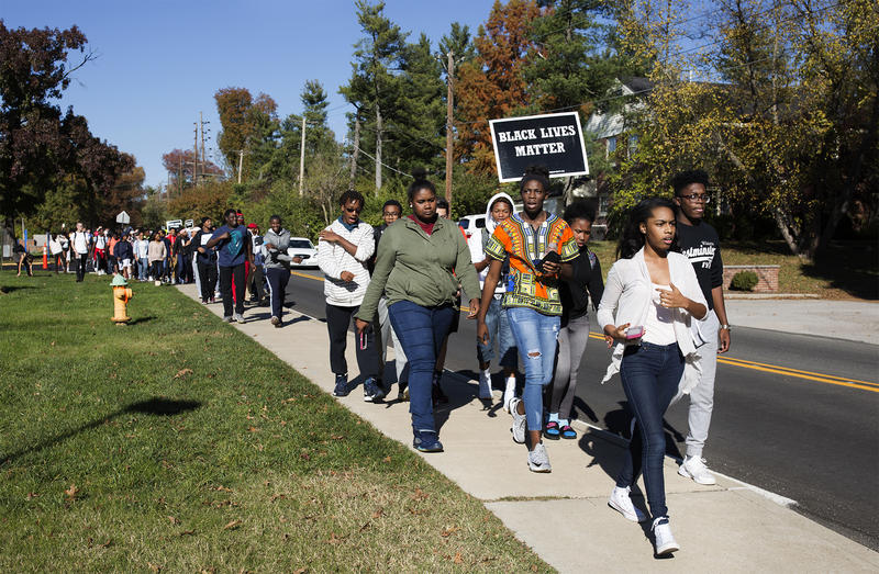 Students march around Ladue high before deciding to head to district offices to continue demanding answers on Nov. 16, 2016.